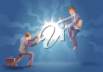 Royalty Free Clipart Image of Two Businessmen Zapping Each Other