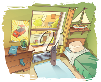 A bit messy room of a young boy. There are a skateboard near the window and the BMX bicycle outside on a backyard.   Includes: the Illustrator 10.0 layered editable vector EPS file and the Hi-res JP