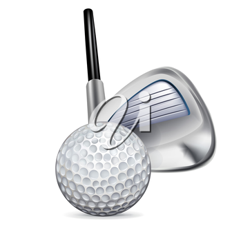golf club and golf ball isolated