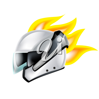 motorcycle helmet with hot rod flames isolated