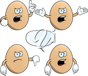 Royalty Free Clipart Image of Angry Eggs