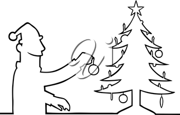 Royalty Free Clipart Image of a Man Decorating a Tree