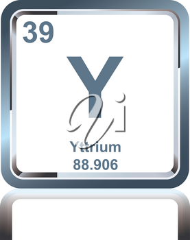 Symbol of chemical element yttrium as seen on the Periodic Table of the Elements, including atomic number and atomic weight.
