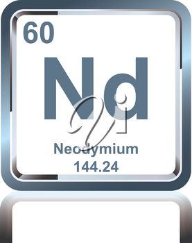 Symbol of chemical element neodymium as seen on the Periodic Table of the Elements, including atomic number and atomic weight.