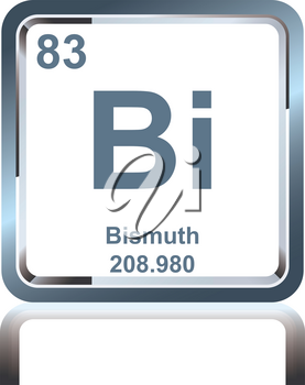 Symbol of chemical element bismuth as seen on the Periodic Table of the Elements, including atomic number and atomic weight.