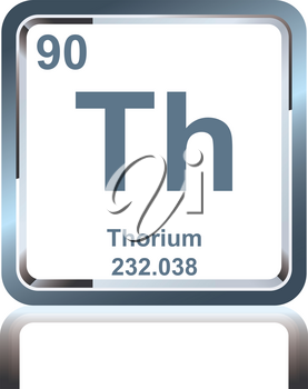 Symbol of chemical element thorium as seen on the Periodic Table of the Elements, including atomic number and atomic weight.