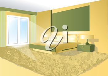 bedroom in a green tone. 10 EPS