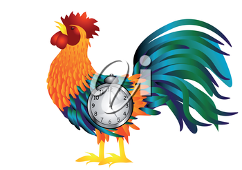Cock with alarm clock isolated on white