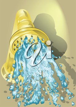 Gold shower with running water. 10 EPS