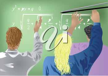 students in the school solve a problem in algebra