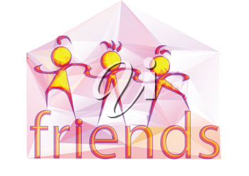 friends, abstract multicolor icon on white background