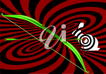 hunting with bow. abstract background with bow and target