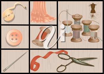 Cutting and sewing set with slissors and needle
