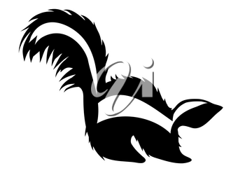 skunk silhouette isolated on a white background