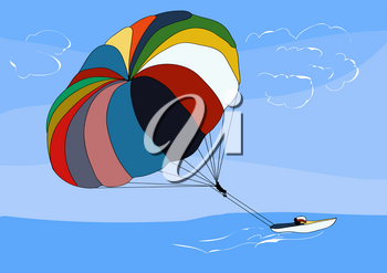 parasailing. abstract illustration on blue background