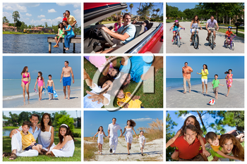 An attractive happy, laughing family of mother, father, son and daughter outside active having fun on summer vacation, cycling, beach, park, fishing and driving