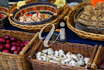 Fresh vegetables for sale on french farmers market in Perigueux, France