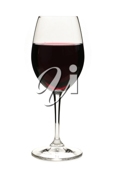 Red wine in wineglass isolated on white background