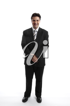 Businessman standing on a plain white background.