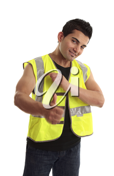 Cool young tradesman, construction worker or handyman gesturing thumbs up, approval, great job, success, etc.  Motion in hands