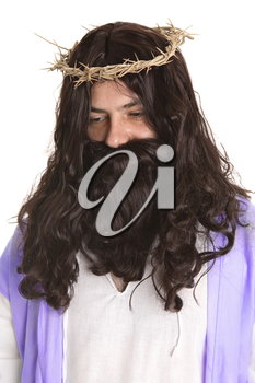 man dressed as Jesus.  