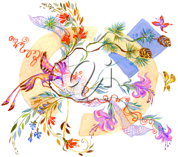Painting of bright flowers with bright bird and flying butterflies near by