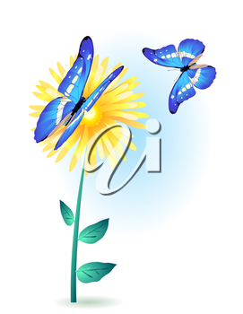 Painting card of yellow flower with blue butterflies
