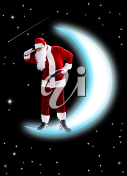 Photo of Santa Claus on shiny moon looking downwards with night sky at background