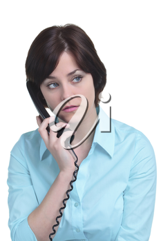 A woman on the telephone who has been put on hold, isolated on a white background.