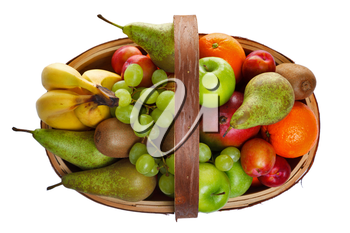 Photo of a wooden trug full of fresh fruit, shot from above and isolated on a white background.