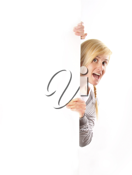 Royalty Free Photo of a Woman Holding an Empty White Board