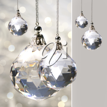 Royalty Free Photo of Ornaments on a Silver Background