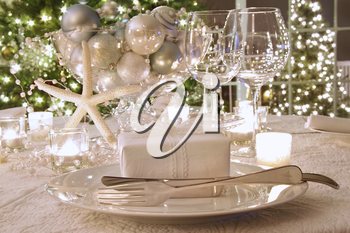 Royalty Free Photo of an Elegant Dinner Table With Wineglasses