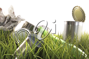 Royalty Free Photo of Empty Cans in the Grass