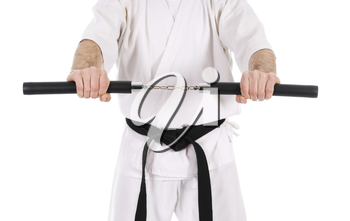 White man doing martial arts on isolated background