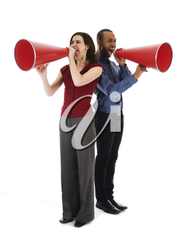 two business people on isolated white with red megaphones