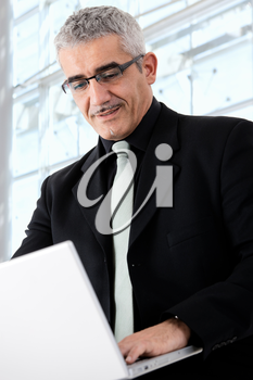 Creative looking mature businessman working on laptop computer.