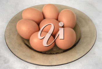 Brown eggs in plate on snow background