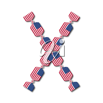 Letter X made of USA flags in form of candies on white background