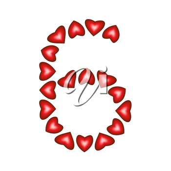 Number 6 made of hearts on white background