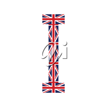 Letter I made from United Kingdom flags on white background