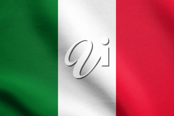 Flag of Italy waving in the wind with detailed fabric texture. Italian national flag.