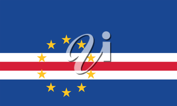 Cape Verdean national official flag. African patriotic symbol, banner, element, background. Accurate dimensions. Flag of Cape Verde in correct size and colors, vector illustration