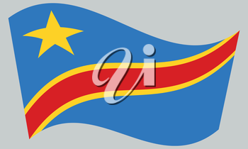 DR Congo national official flag. African patriotic symbol, banner, element, background. Correct colors. Flag of Democratic Republic of the Congo waving on gray background, vector