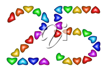 Number 25 of colorful hearts on white. Symbol for happy birthday, event, invitation, greeting card, award, ceremony. Holiday anniversary sign. Multicolored icon. Twenty five in rainbow colors.