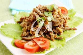 Beef Stroganoff with tomato, lettuce and cilantro