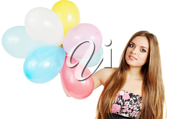 Young woman holding a bunch of balloons
