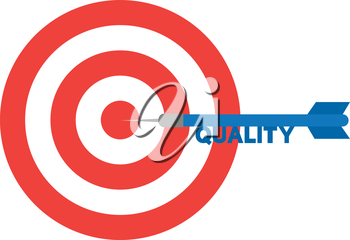 Vector red bullseye and blue dart with text quality is in the center.