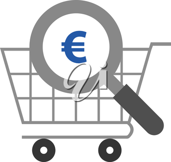 Vector grey magnifier with blue euro symbol against grey shopping cart
