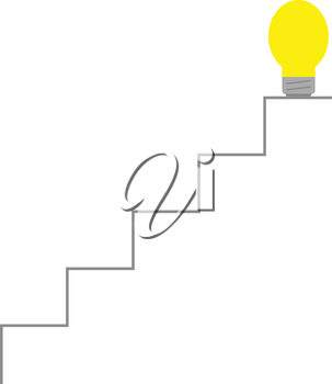 Vector yellow light bulb on top of stairs.